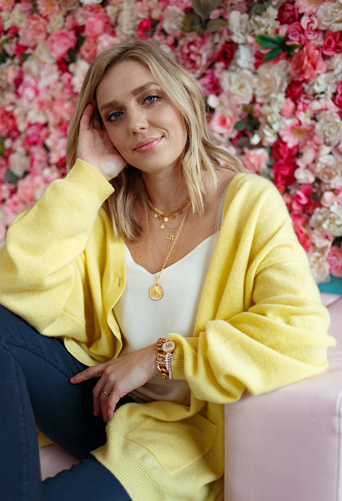 Bellamy Cashmere Cardigan, Sorbet Yellow