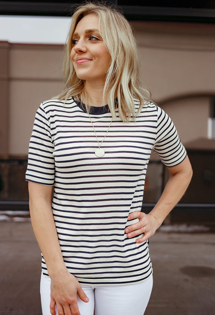 Scotch & Soda Sylvie Striped High-Neck Crew
