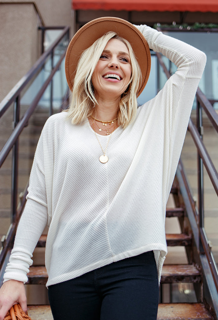 PRE-ORDER Gwen Oversized V-Neck Top With Thumbhole
