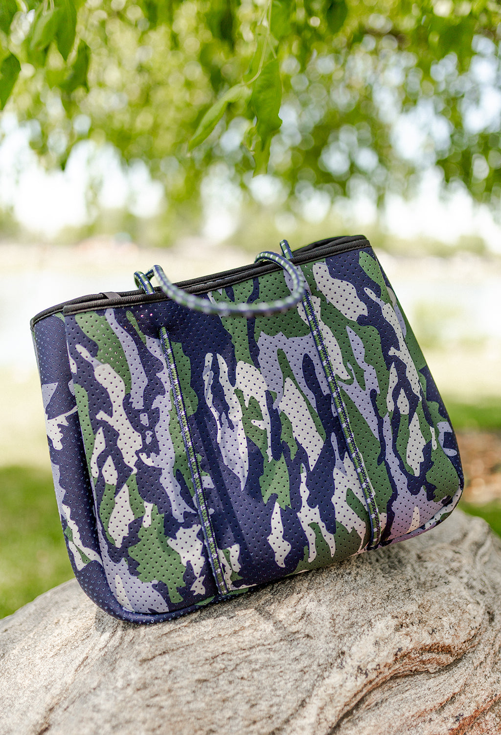 Annabel Ingall Sporty Spice Neoprene Tote, Blue Camo