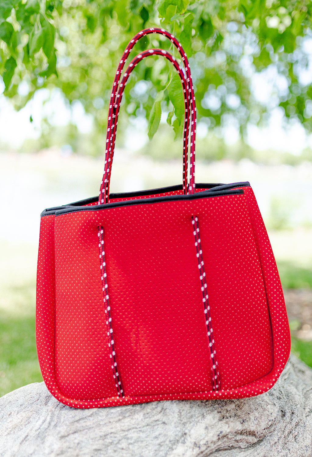 Annabel Ingall Sporty Spice Neoprene Tote, Crimson