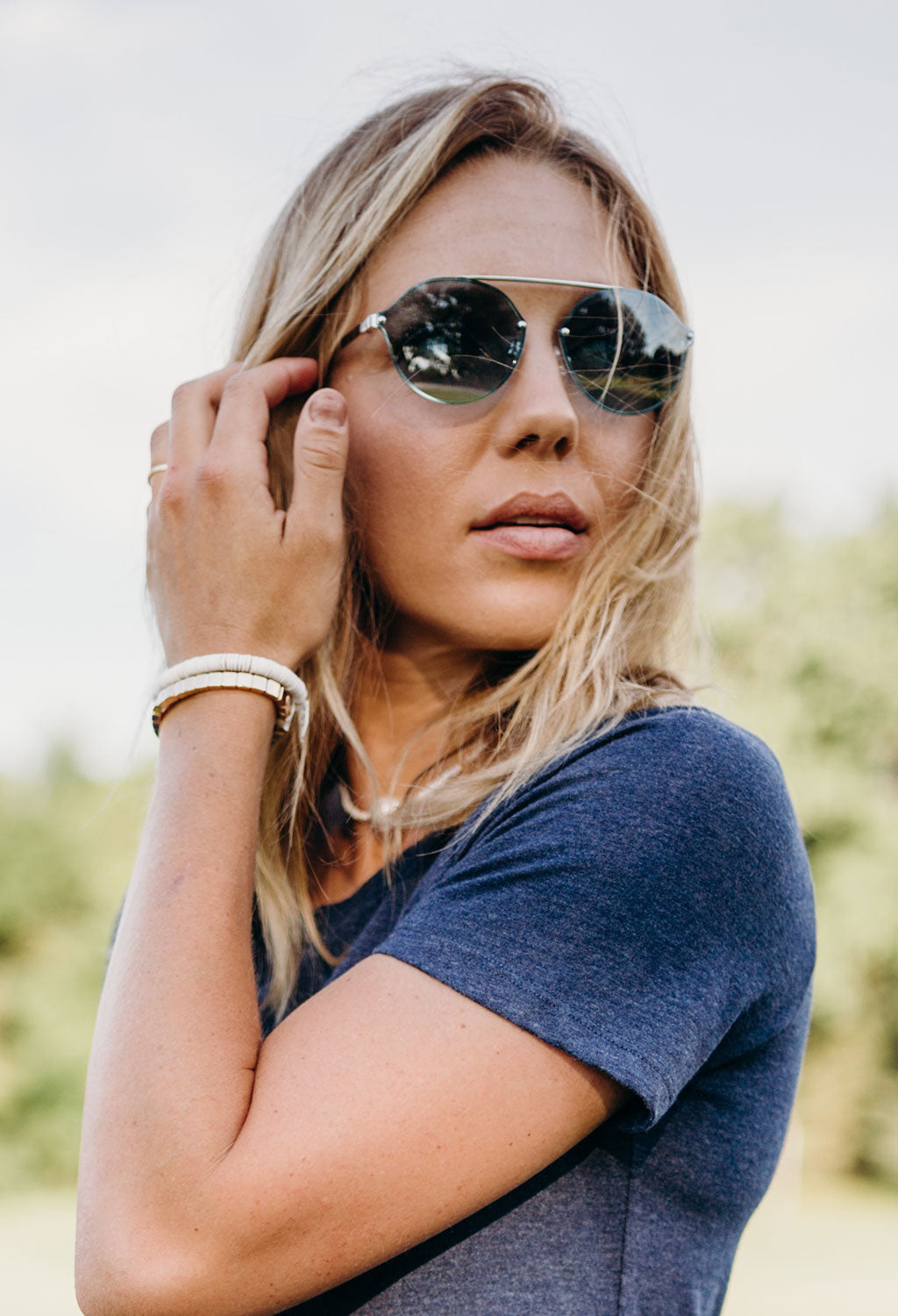 Pilgrim Sunglasses, Zadie Silver Plated Blue