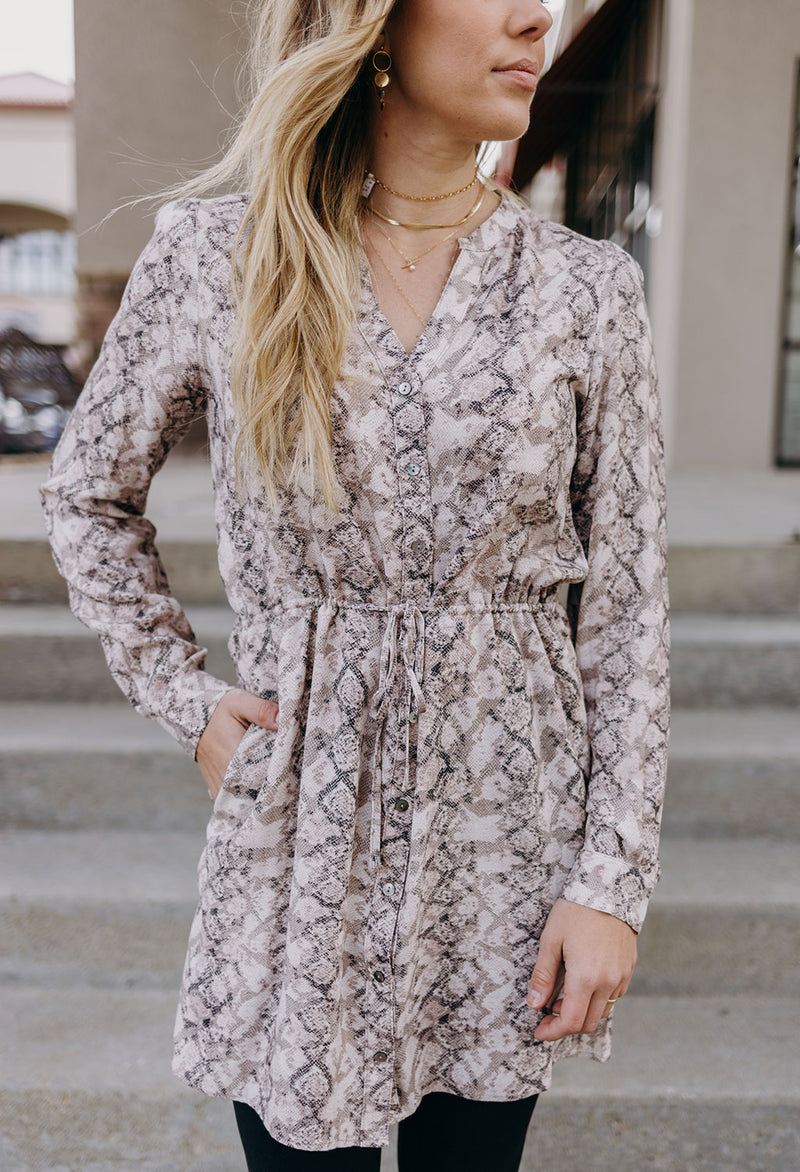 Sachi Snake Print Button Front Dress