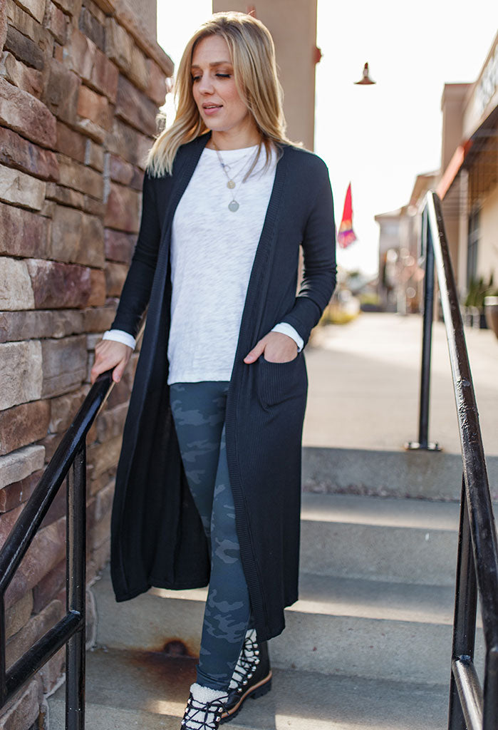 Randi Rib Knit Long Cardigan