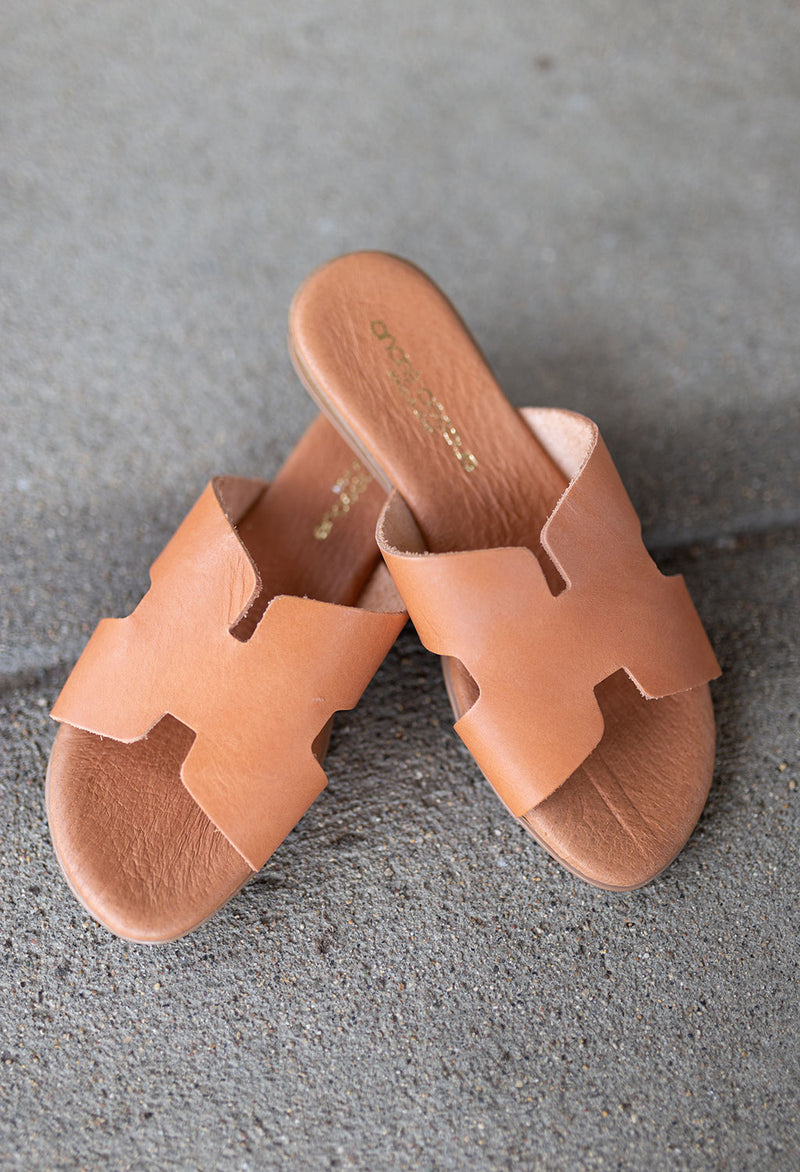 Nadia Leather H-Strap Slide Sandal - RUST & Co.