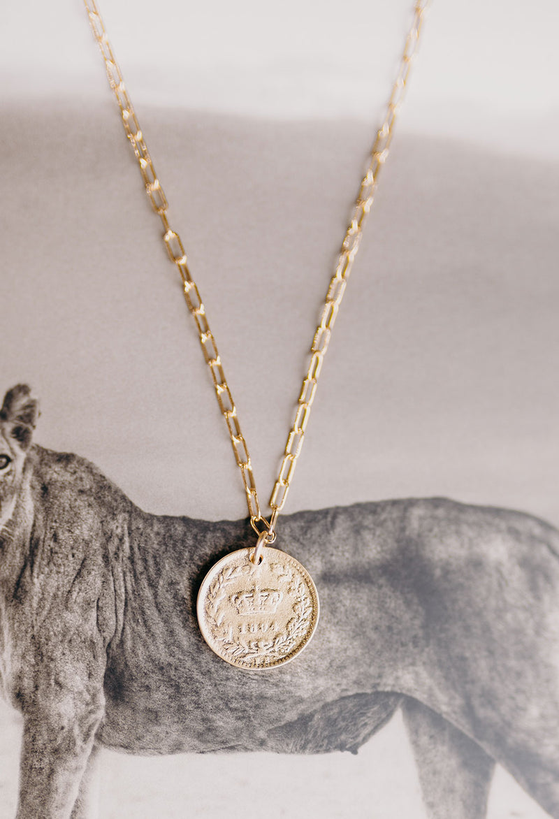 Crown Coin Necklace 18""