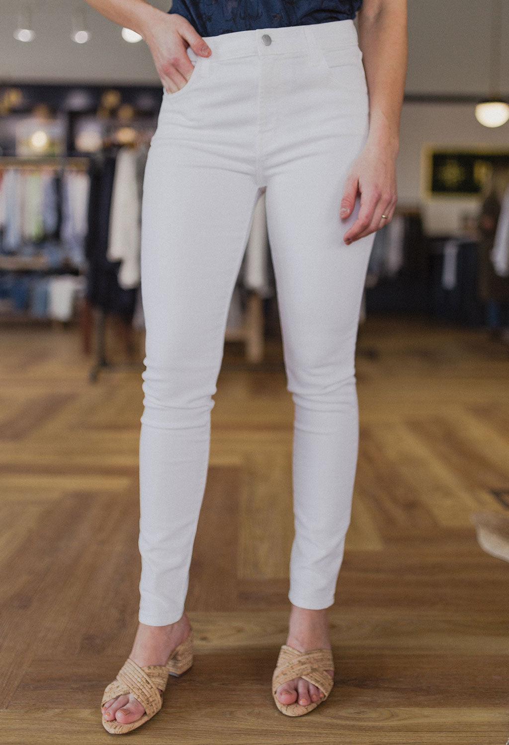 J Brand High Rise Skinny, White