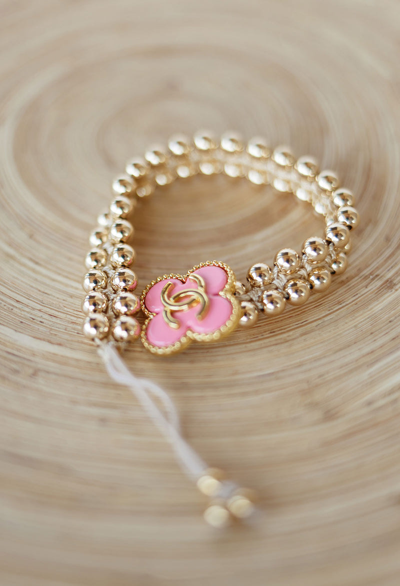 Vintage CC Button, Pink w/ Gold Filled Bead Bracelet
