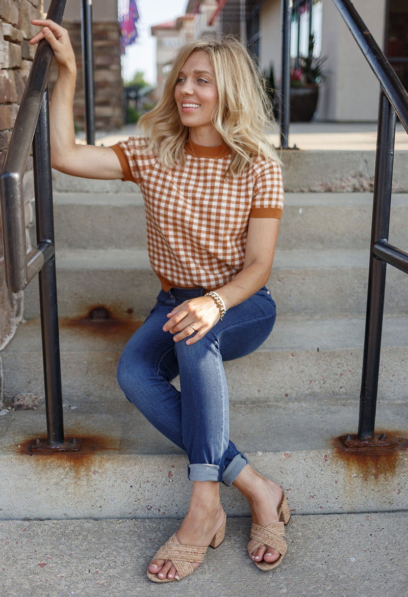 Brandi Gingham Plaid Sweater
