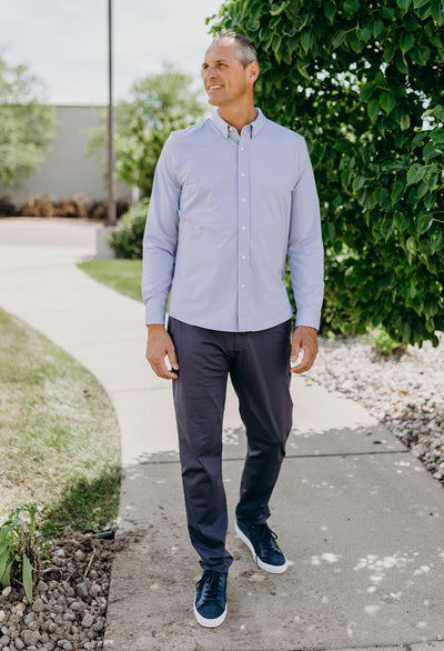 Rhone Commuter Dress Shirt, Indigo Stripe