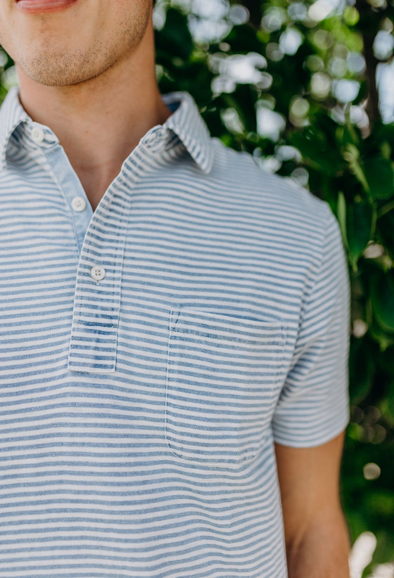 Faherty Salt Wash Indigo Stripe Polo