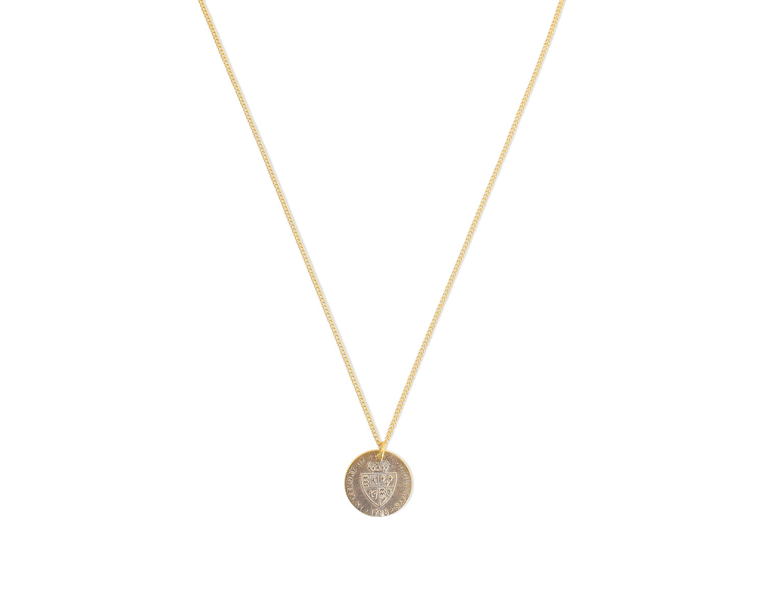 Spade Shield Coin Necklace 16""