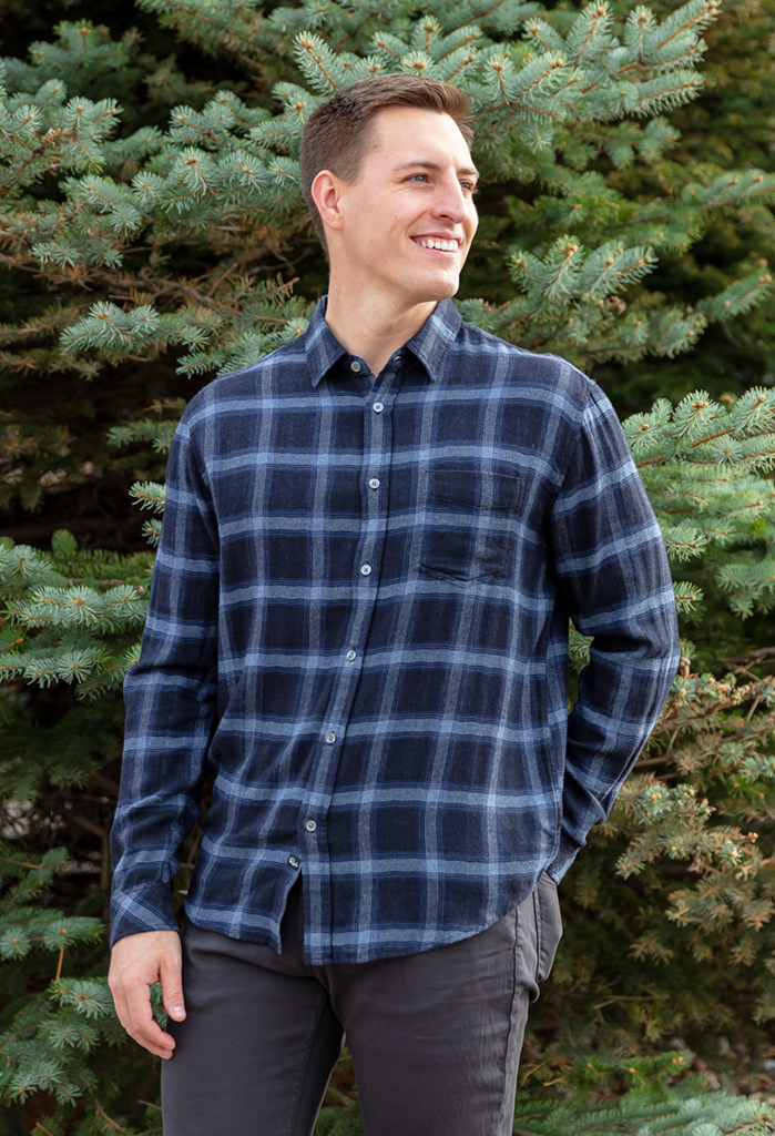 Rails Lennox Plaid Shirt, Navy/H.Blue
