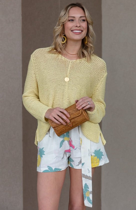 Marley Spring V-Neck Sweater, Yellow
