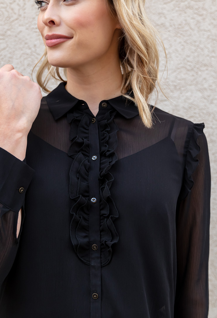 Scotch & Soda Sheer Ruffle Placket Blouse