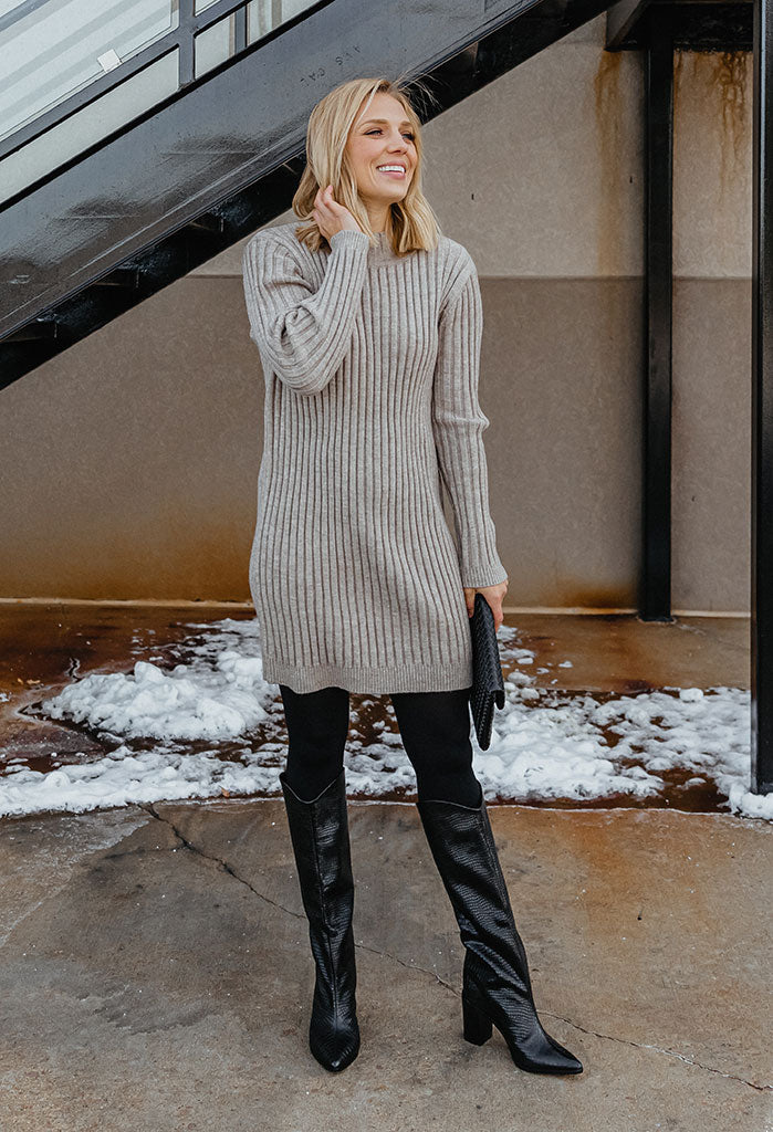 Kinsley Mock Neck Ribbed Sweater Dress