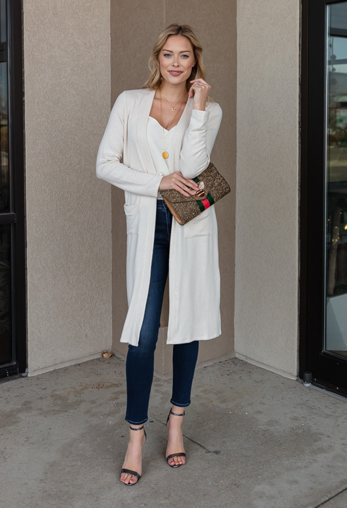 Olivia Gold Lurex Knit Duster Cardigan
