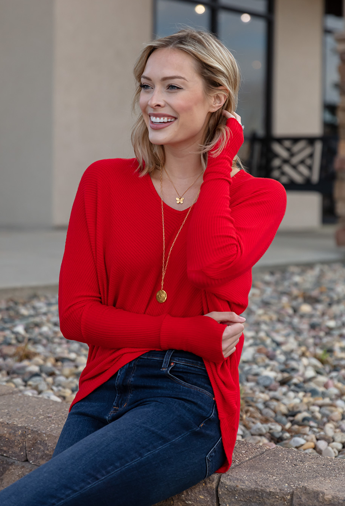 Gwen Oversized V-Neck Top With Thumbhole