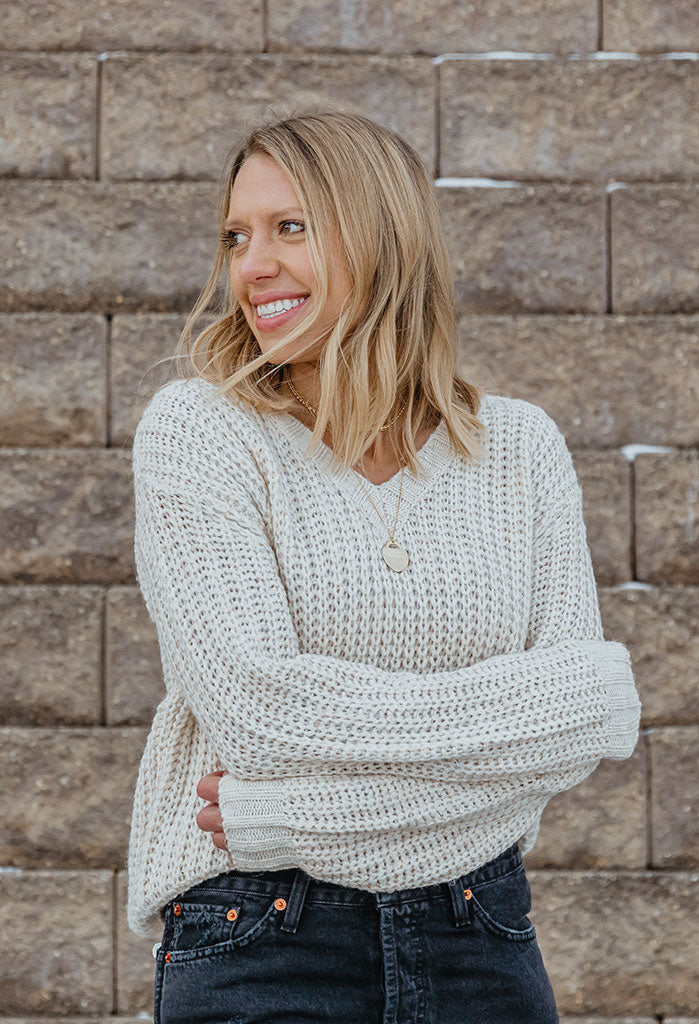 Jaelyn Mixed Knit V-neck Sweater
