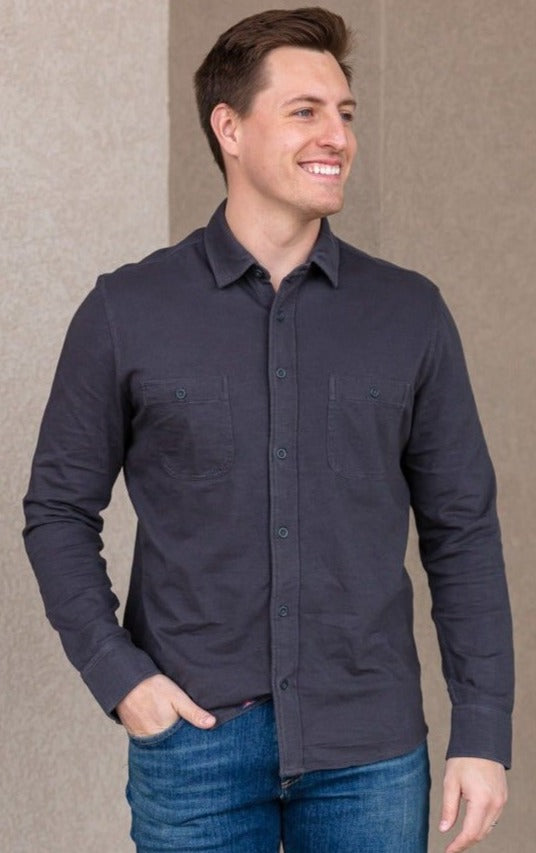 Faherty Knit Seasons Shirt, Blk