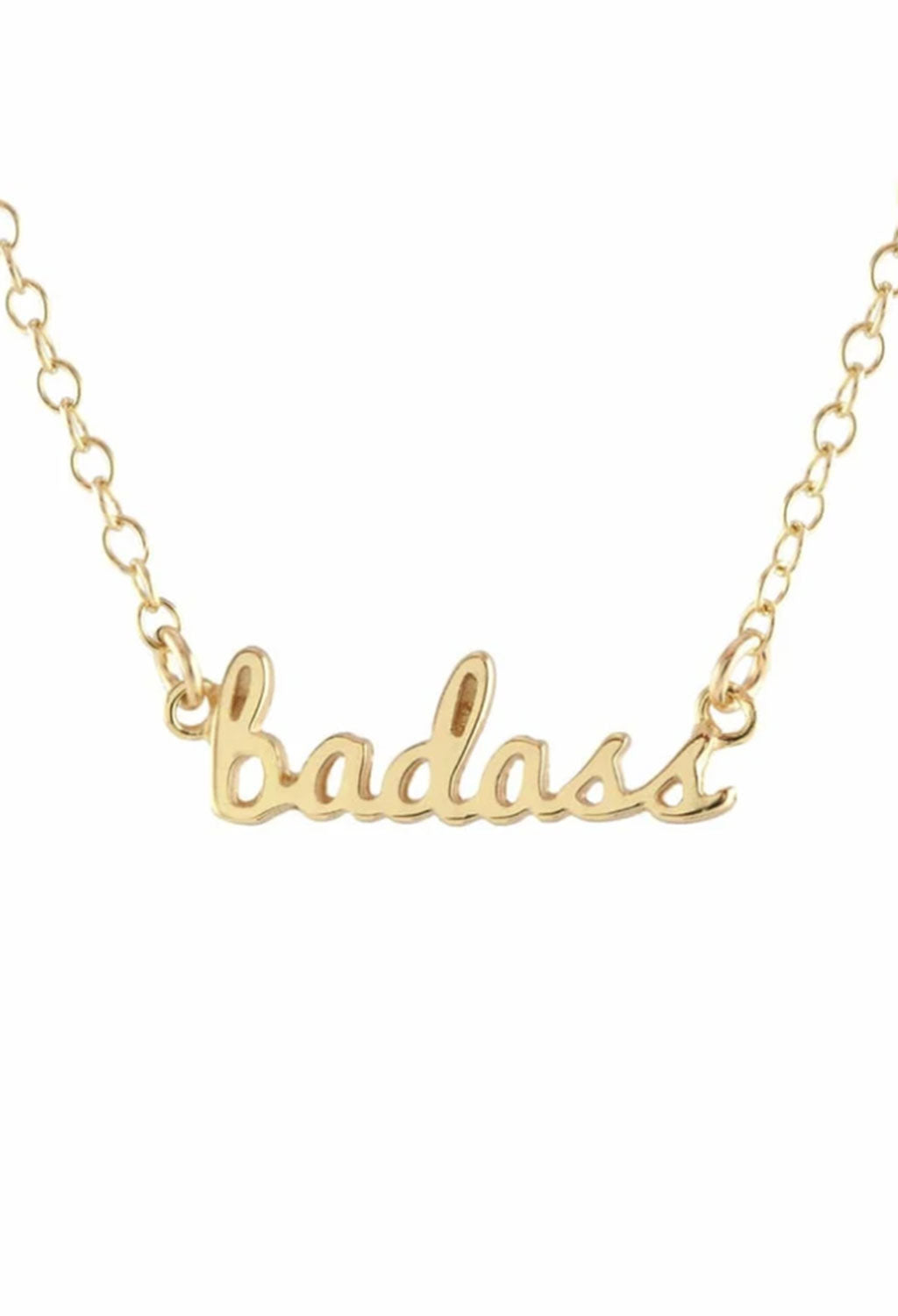 KN Gold Vermeil Badass Script Necklace