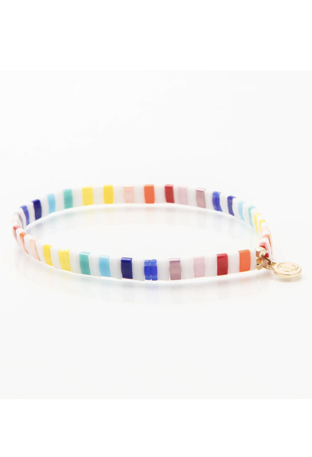 CL Rainbow Glass Bead Bracelet