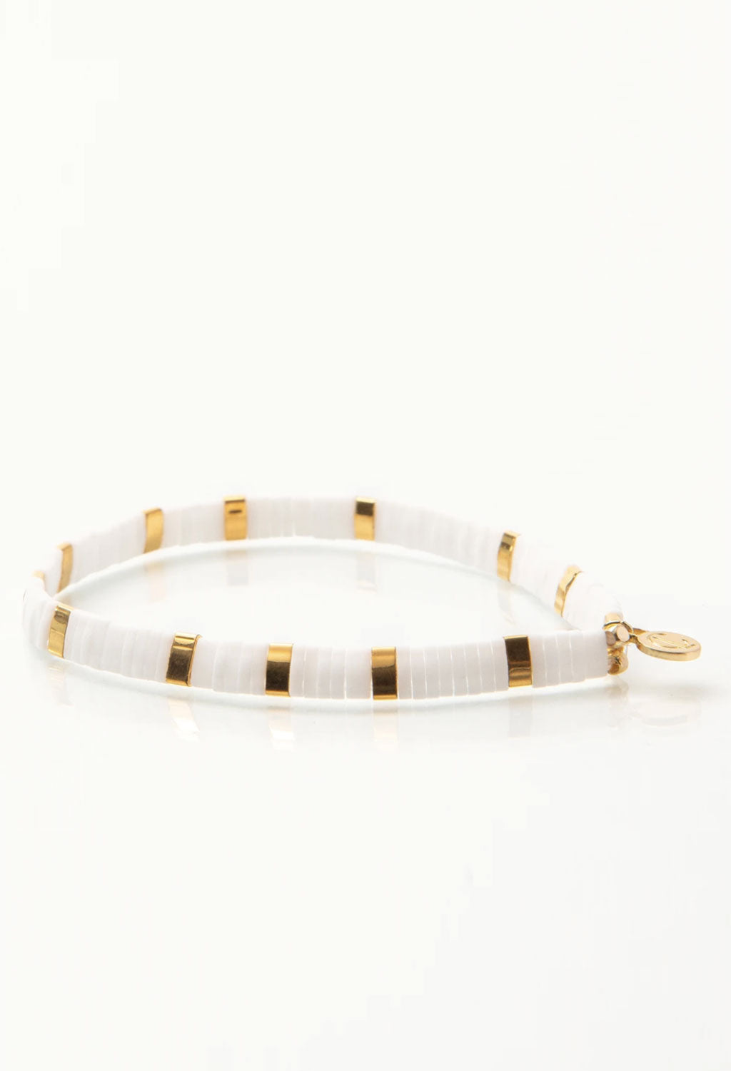CL White & Gold Glass Bead Bracelet