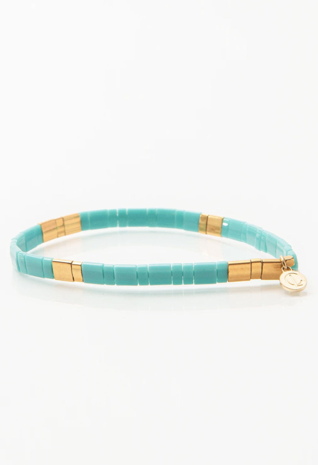 CL Turquoise & Gold Glass Bead Bracelet