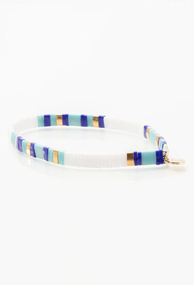 CL White/Turquoise/Navy & Gold Glass Bead Bracelet
