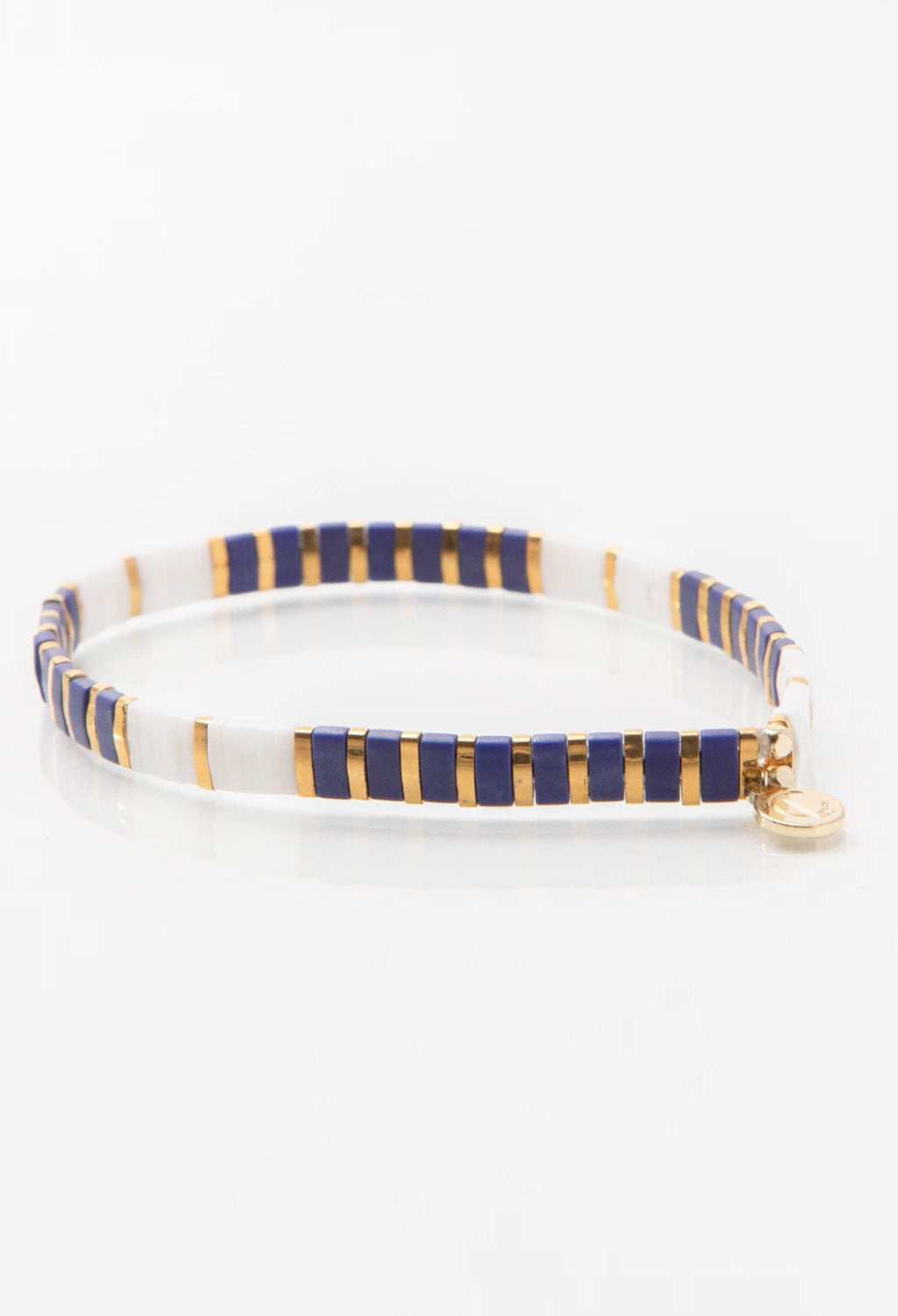 CL Navy/White & Gold Glass Bead Bracelet