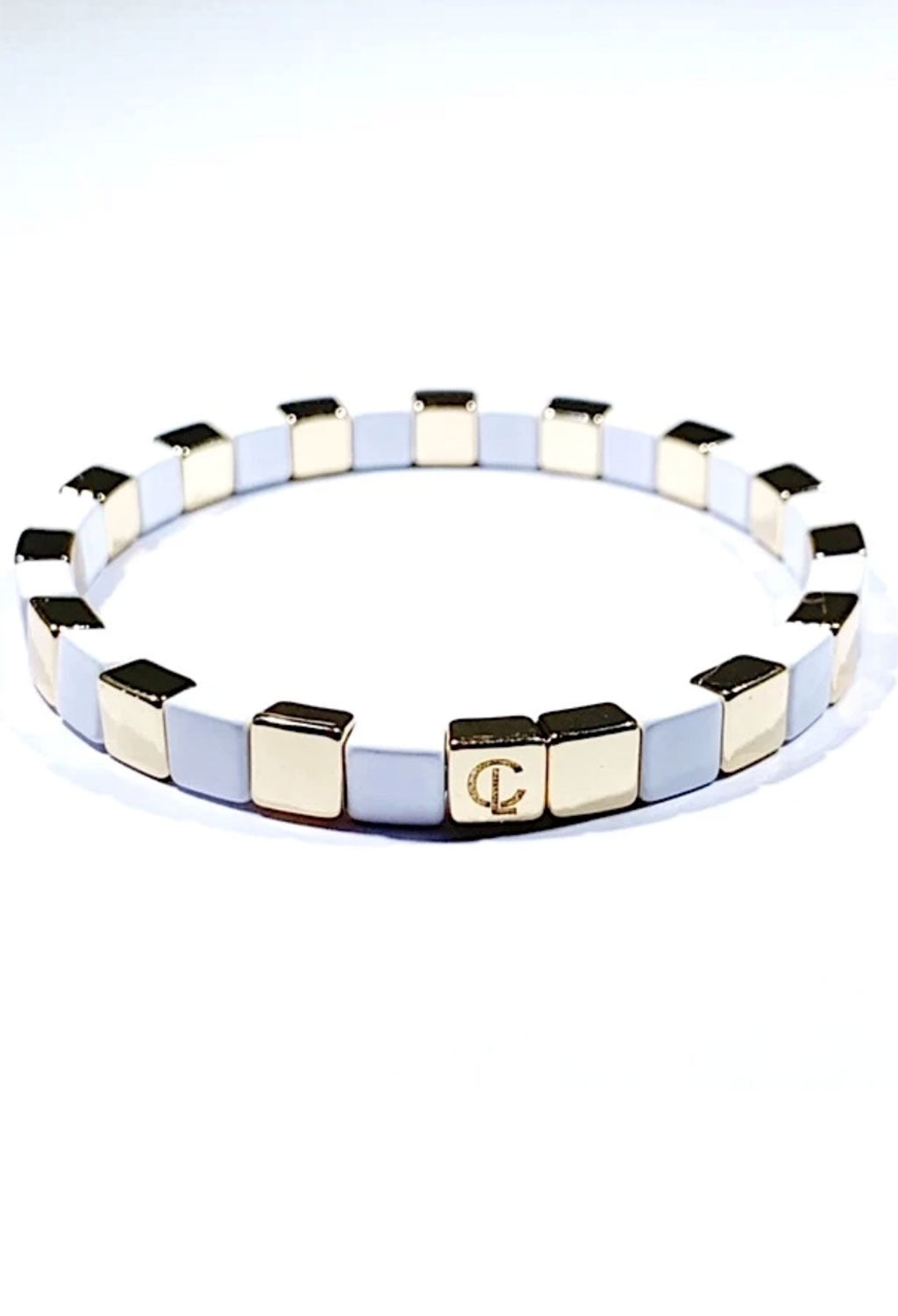 CL White & Gold Tiny Tile Beaded Bracelet