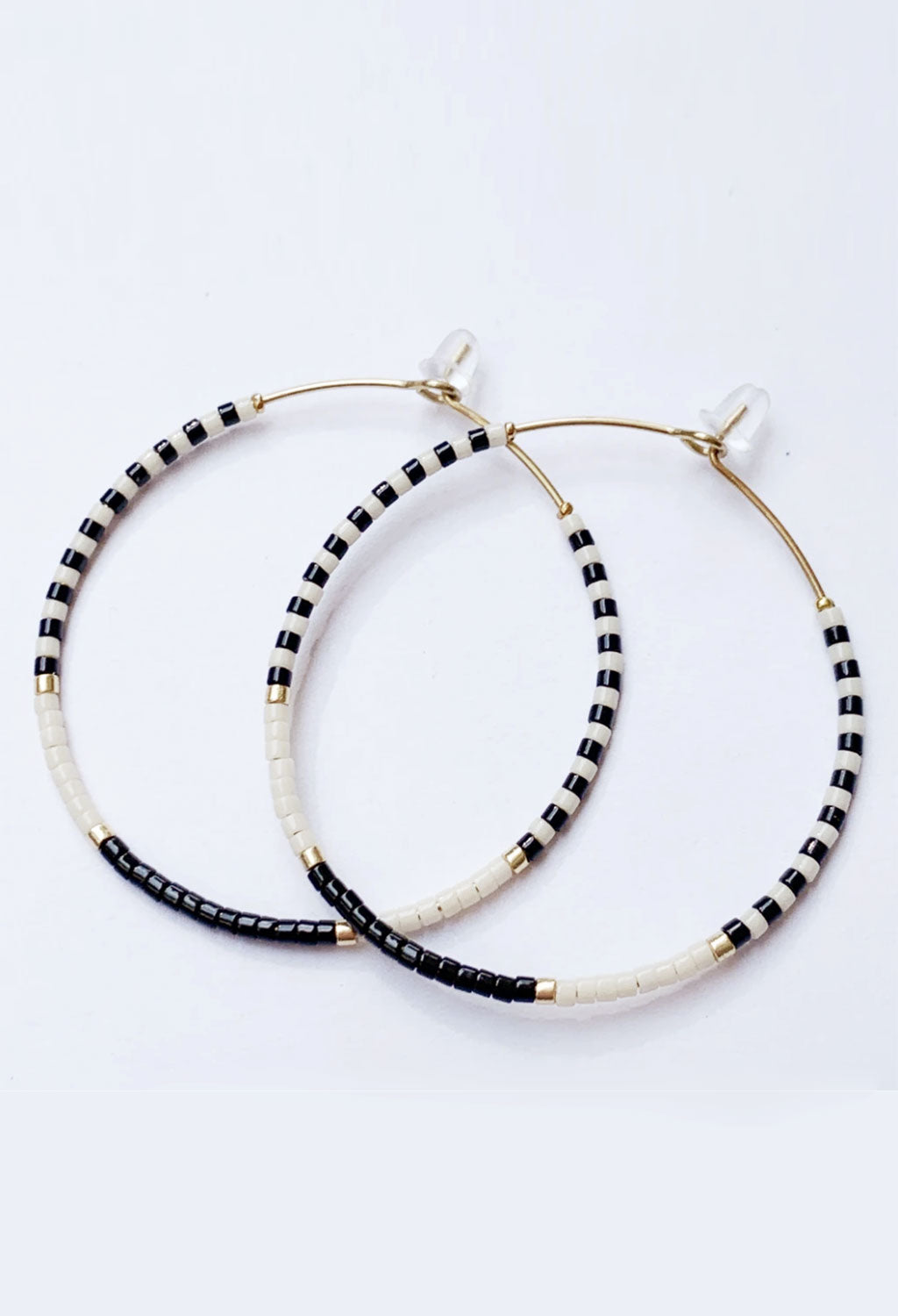 CL Glass Bead Hoop Earrings, Black/Cream/Gold