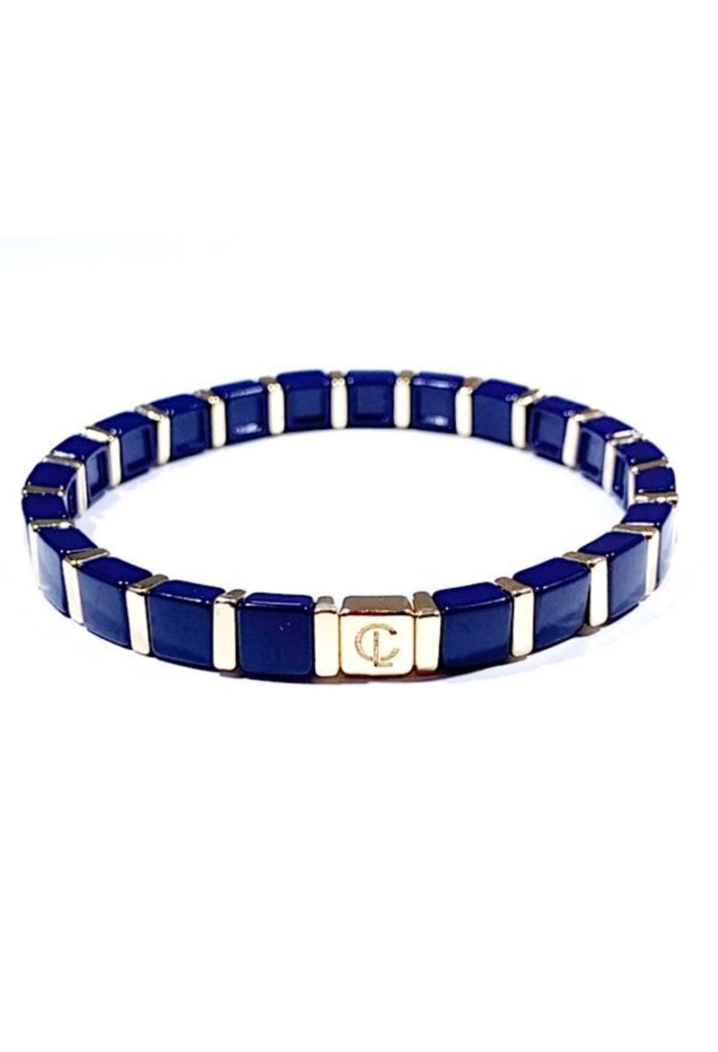 CL Navy & Gold Tiny Tile Beaded Bracelet