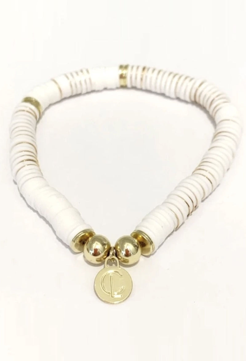 CL Seaside Wide Disc Bracelet, White & Gold