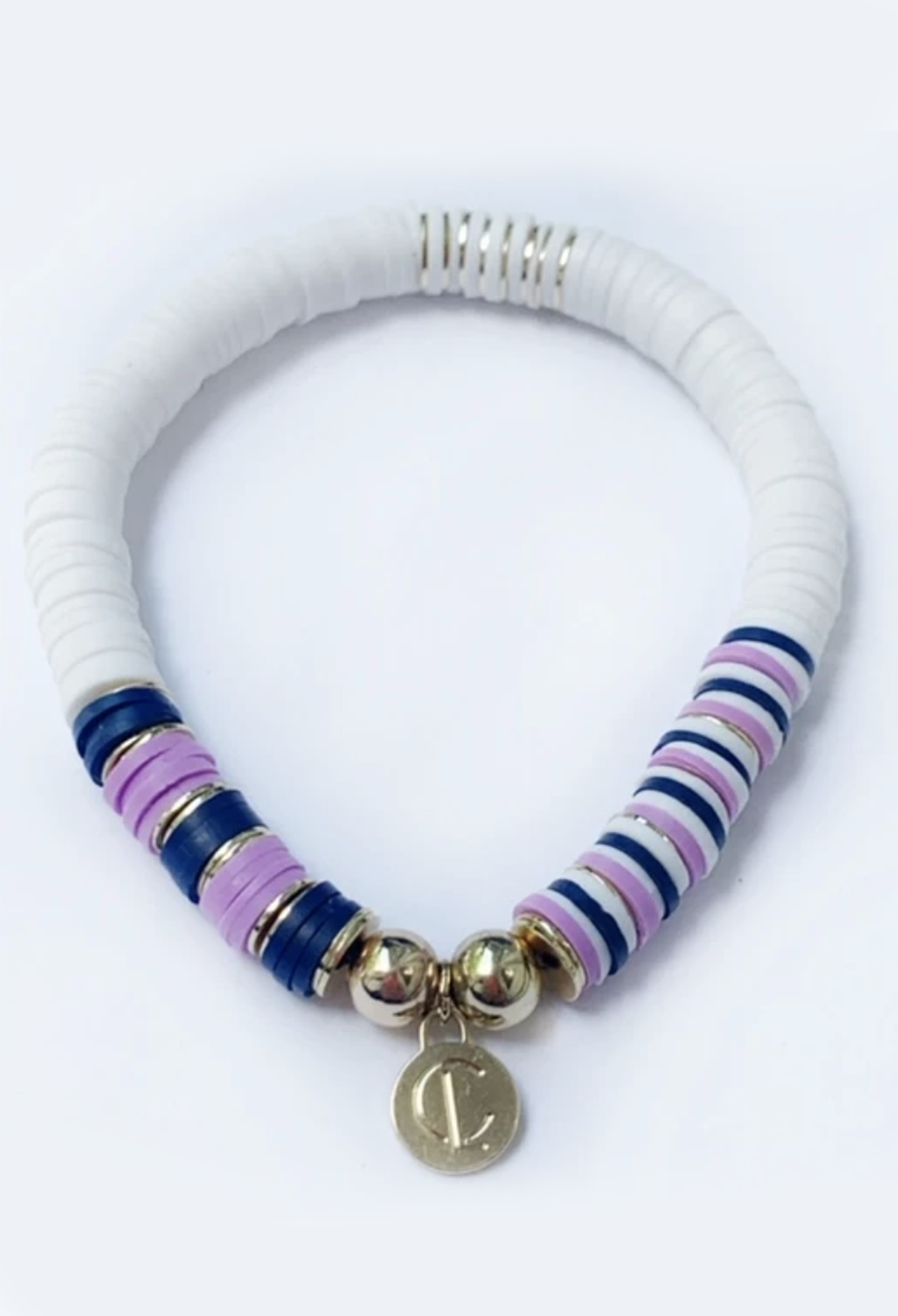 CL Seaside Wide Disc Bracelet, White Lavendar