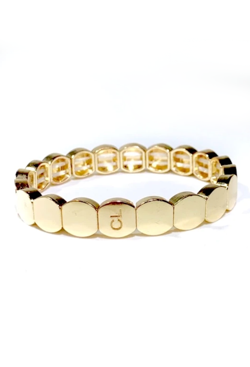CL Gold Round Tile Bracelet