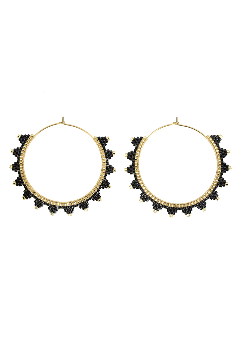 CL Lanai Beaded Hoops, Black
