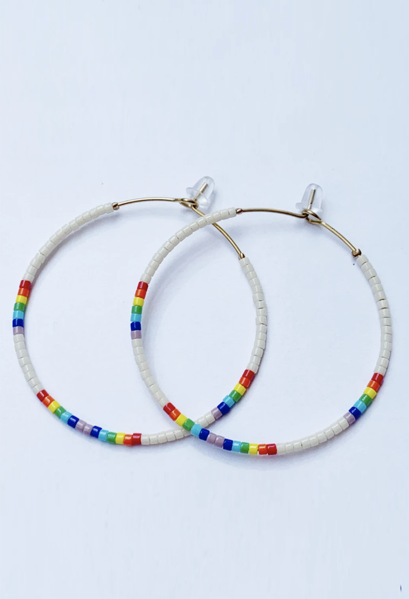 CL Glass Bead Hoop Earrings, White Rainbow