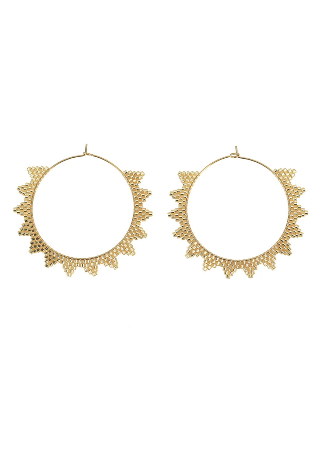 CL Lanai Beaded Hoops, Gold