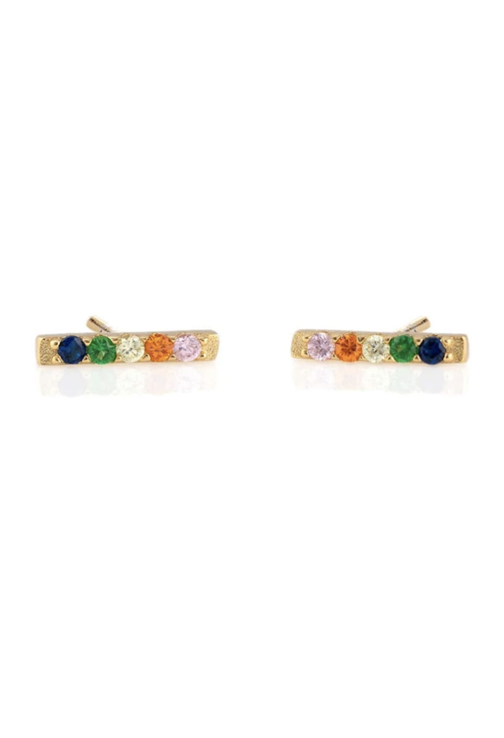 KN Bar Dash Rainbow Pave Gold Vermeil Studs