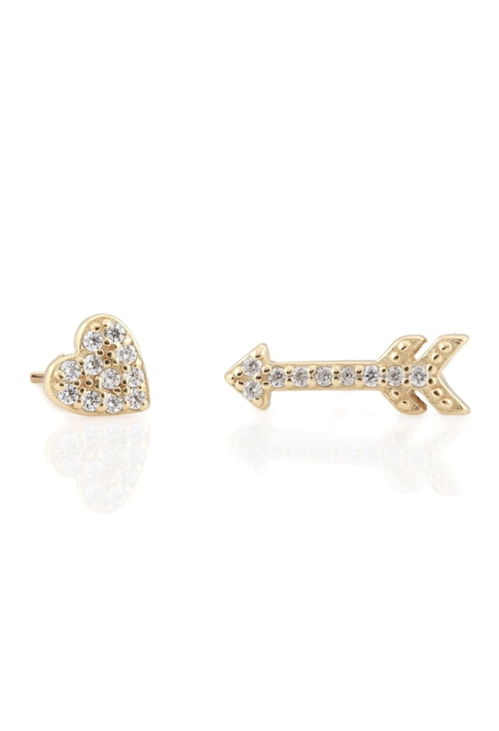 KN Heart & Arrow Pave Gold Vermeil Studs