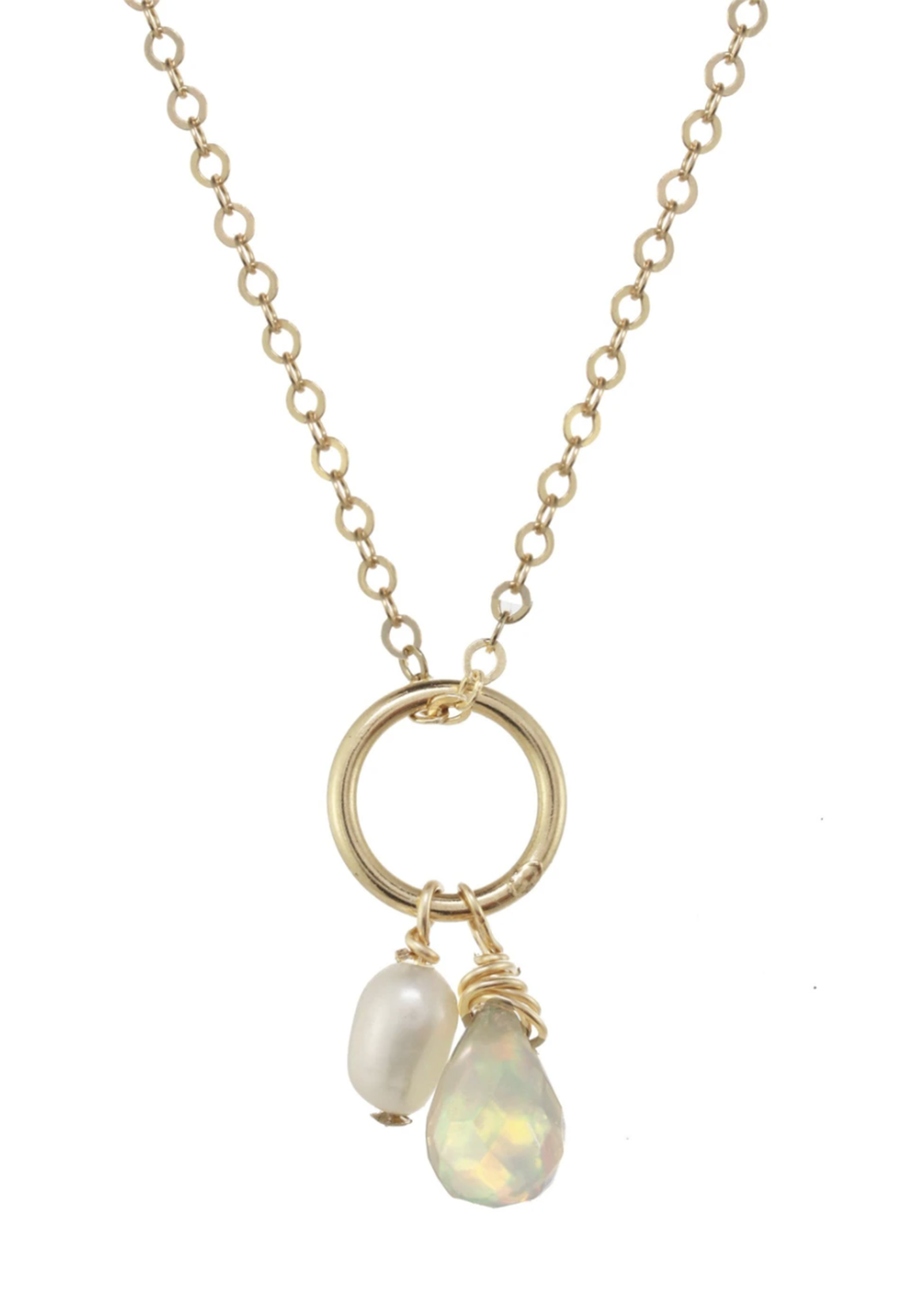 "Michelle Opal/Pearl Necklace 16""-18"""