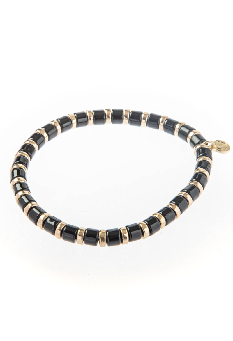 CL Enamel Bead Bracelet, Black w/ Gold