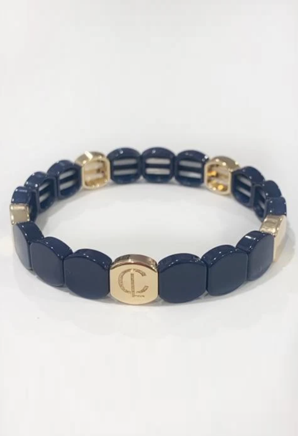 CL Round Tile Bead Bracelet, Navy/Gold
