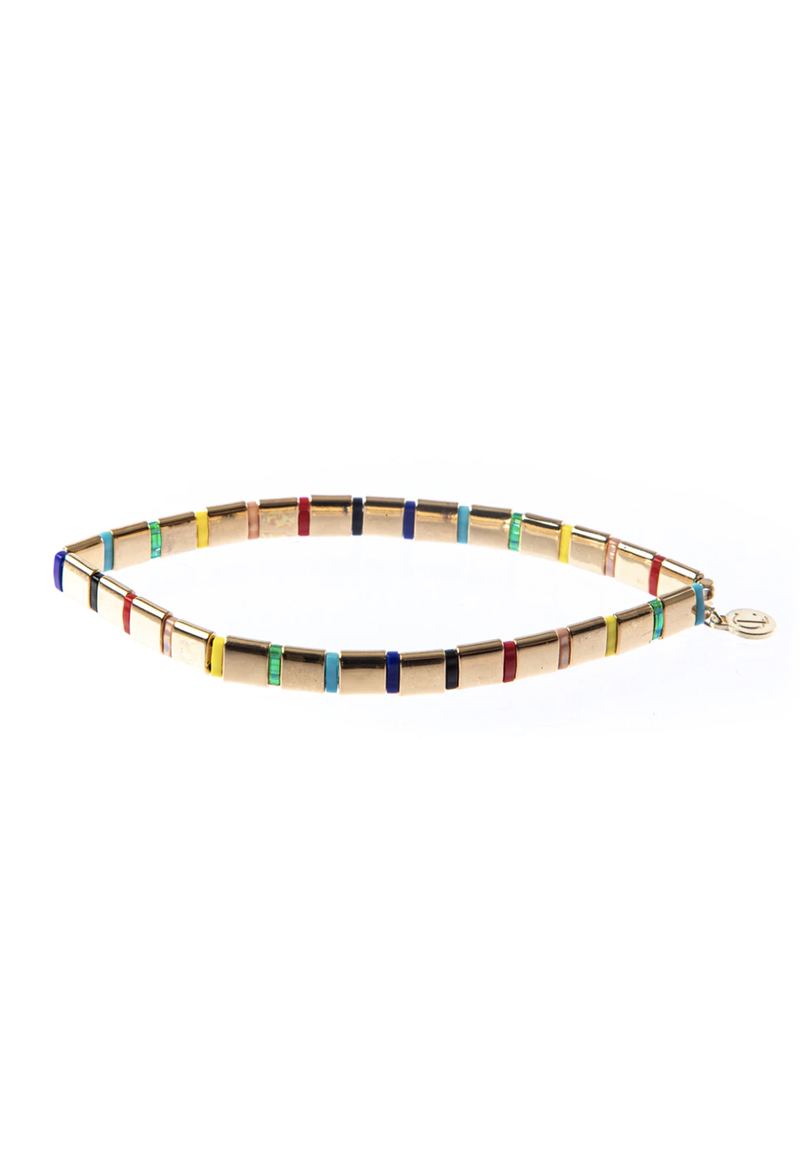 CL Gold Rainbow Glass Bead Bracelet