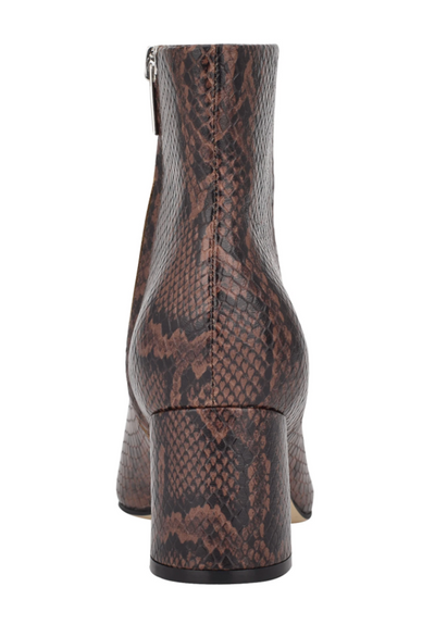 Marc Fisher Jarli Leather Bootie, Brown Snake Print