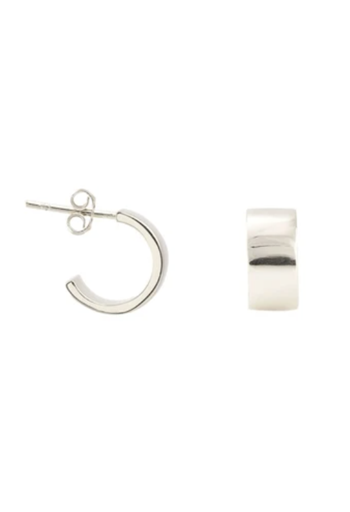 KN Wide Huggie Hoops, Sterling Silver