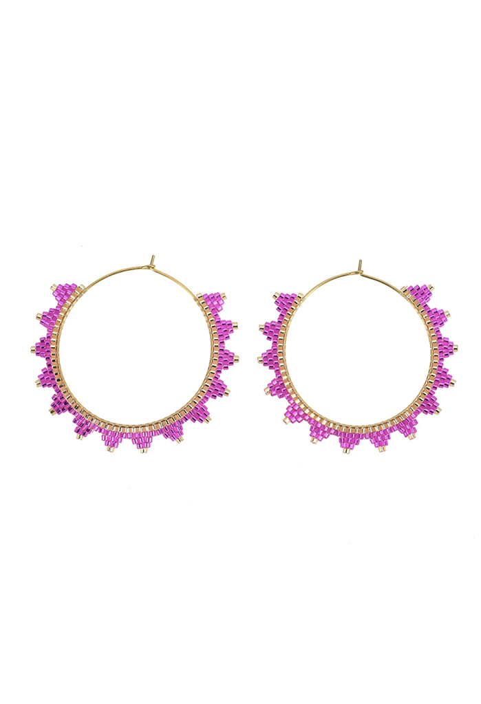 CL Lanai Beaded Hoops, Pink