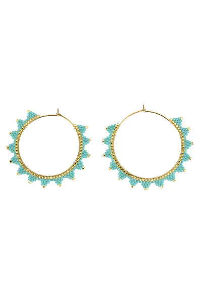 CL Lanai Beaded Hoops, Turquoise