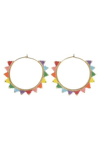 CL Lanai Beaded Hoops, Rainbow